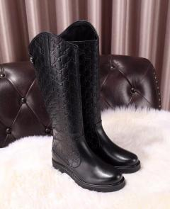 gucci black womens designer boots italy leather embossing height 16 inch
