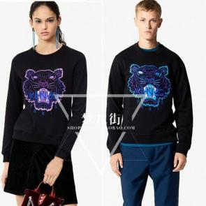 kenzo sweat col rond broderie devant coton purple tiger filles