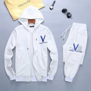 louis vuitton sweat suits new tracksuit for men hooded cap blouson white