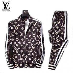 louis vuitton sweat suits new tracksuit for men stand collar classic printing lv brown