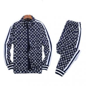 louis vuitton sweat suits new tracksuit for men zipper classic printing lv blue