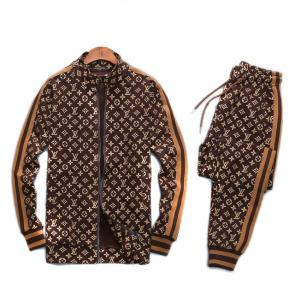 louis vuitton sweat suits new tracksuit for men zipper classic printing lv brown