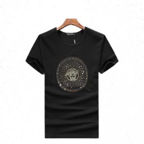 new men shirts tee shirt manches courtes homme round sequin medusa