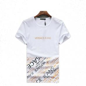 new men shirts tee shirt manches courtes homme versace jeans logo blanc