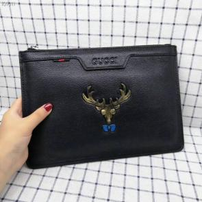 nouveau gucci clutch bag black cowhide deer head angle gg 04