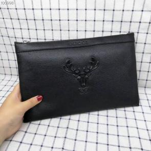 nouveau gucci clutch bag black cowhide deer head angle gg 05