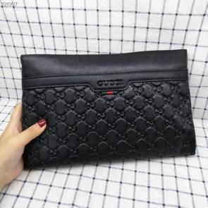 nouveau gucci clutch bag black cowhide embossing gg 06