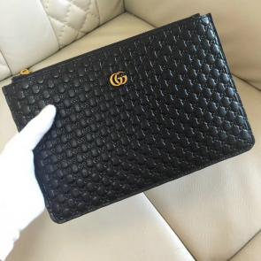 nouveau gucci clutch bag black embossing cowhide brass hardware