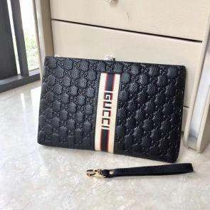nouveau gucci clutch bag black embossing cowhide gucci stripe cowhide