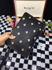 nouveau gucci clutch bag black embroidery cowhide bee stars