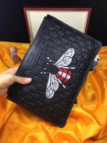 nouveau gucci clutch bag black embroidery bee gucci cowhide