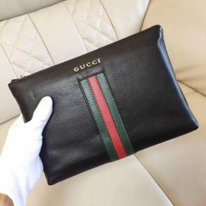 nouveau gucci clutch bag black envelopes classical stripe cowhide