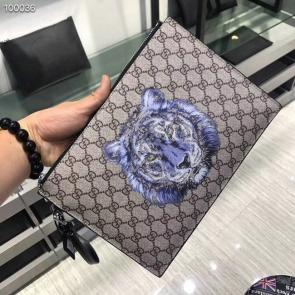 nouveau gucci clutch bag black double gg square grid tiger head
