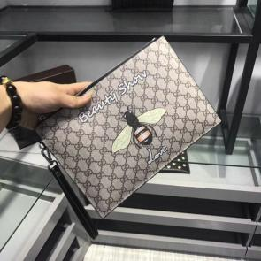 nouveau gucci clutch bag black double gg square grid bee 011