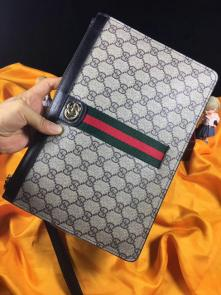 nouveau gucci clutch bag black double gg square grid stripe beige