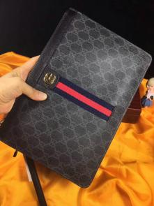 nouveau gucci clutch bag black double gg square grid stripe black