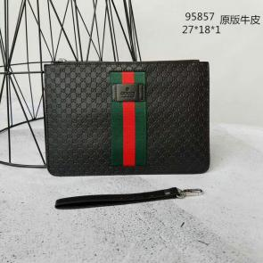 nouveau gucci clutch bag black handbag bag gg printed cowhide logo