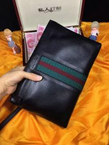 nouveau gucci clutch sac black wallet cowhide classic stripe