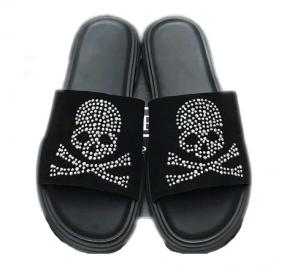 philipp plein men leather thong slides sandals slippers top skull