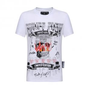 philipp plein t-shirt for men casual style fire fuck blanc