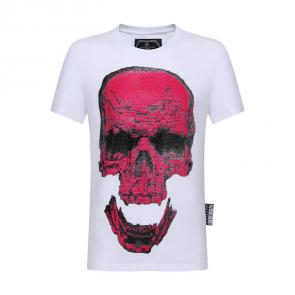 philipp plein t-shirt for men casual style rouge tete de mort