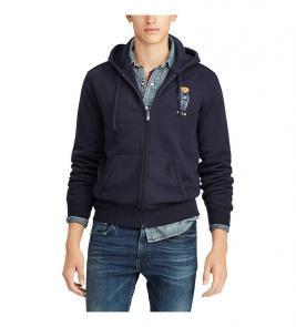 polo ralph lauren classic solid fleece hoodie jacket bear blue