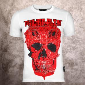 t-shirts luxury brand by philippe plein la marque a808 red skull