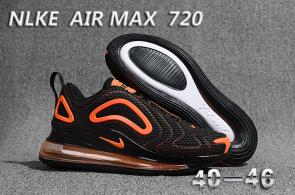 unisex nike air max 720 running chaussures promo black orange