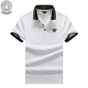 young man versace polo shirt embroidery medusa two color blanc