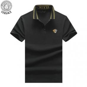 young man versace polo shirt embroidery medusa two color flower