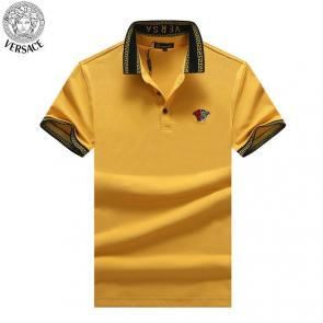 young man versace polo shirt embroidery medusa two color yellow