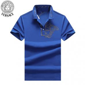 young man versace polo shirt print hlaf medusa blue