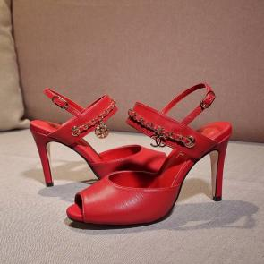 chanel sandals femme italy  sandals high heeled 9.5cm peep toe red