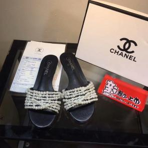 chanel sandals femme italy  sandals slipper pearl chain