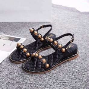 chanel sandals femme italy  flat sandals black