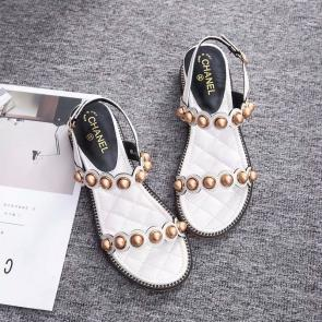chanel sandals femme italy  flat sandals white