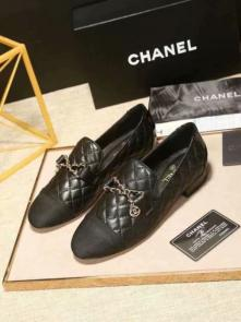 chanel chaussures wome price flat chaussures sheepskin car line black