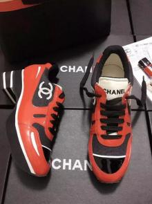 chaussure chanel femme imitation leisure sports chaussures patent leather orange