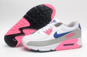 chaussure nike air max 90 leather women pinkleather gray blue
