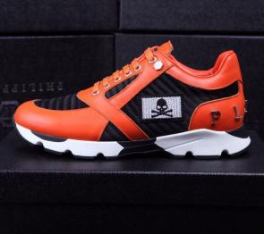 chaussure philipp plein sport homme orange skull leather