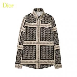 dior shirts long sleeve gray grid
