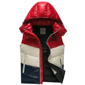 doudoune moncler sans hommesches homme hooded vest red white blue