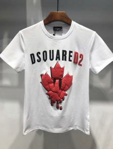 dsquared2 t-shirt new collection 3d maple leaf white