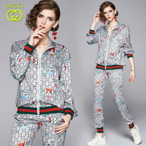 ensemble Tracksuit women gucci floral printed jogging suit zip