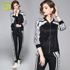 ensemble Tracksuit women gucci zip up tracksuit dual pockets pants noir