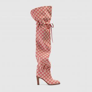 gucci 2018 lisa boots beige gg canvas hibiscus red