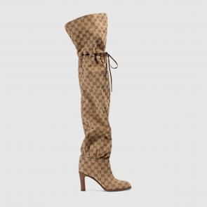 gucci 2018 lisa boots beige gg canvas ebony original