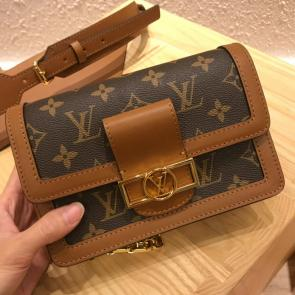 louis vuitton all handbags mini dauphine bag brown m44164 w19 h6 d13