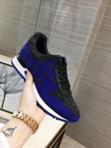 louis vuitton run away sneakers femmess price top layer cowhide and flying fabric blue