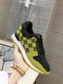 louis vuitton run away sneakers femmess price top layer cowhide and flying fabric yellow